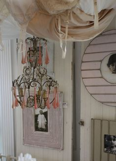 Vintage Italian Beaded Chandelier with Pink Crystal Drops