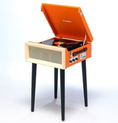 Steepletone SRP1R 16 vintage-style record player with legs
