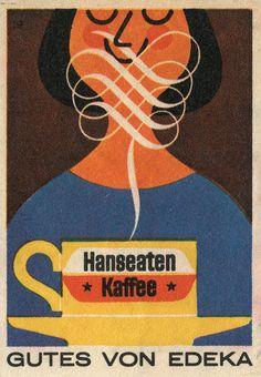 LOVE coffee!!! AMO café!!!   From Maraid's set of matchbox labels(via Martin Klasch: Hanseaten Kaffee)
