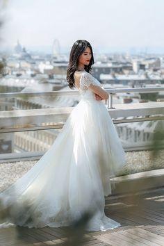 Robe de mariée de princesse  de la créatrice de luxe Veronika Jeanvie Paris 2018