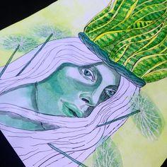 @iluiztrar | ilustração aquarela sobre papel, portátil feminino, cores vibrantes, cabelo colorido, luz sombra, nankin. watercollor on paper, portrait female, hair collored, shadow light illustration