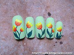 Nails with tulips Spring Nail Art, Spring Nails, Tulip Nails, Glue On Nails, Perfect Nails, Dragonflies, Nail Ideas, Nail Art Designs, Tulips