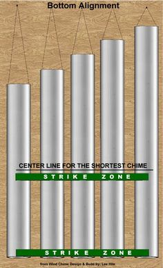 Wind chime Strike Zones for Bottom Alignment Bamboo Crafts, Metal Crafts, Nail Swag, Garden Crafts, Home Crafts, Carillons Diy, Dyi, Tubular Bells, Wind Chimes Craft