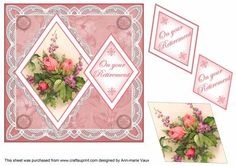 Rose Bouquet Your Retirement 7in Double Diamond Topper on Craftsuprint - Add To Basket!