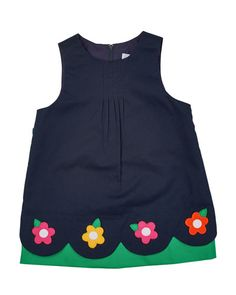 Z1H7F Florence Eiseman Floral-Trim Pleated Poplin Jumper & Long-Sleeve Knit Blouse, Navy/White, Size 2T-4T