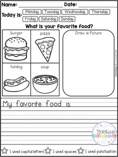 FREE 10 Kindergarten Writing Prompts with 2 option (A total of Pages). With sentence starters and without sentence starters for advance writers. This pack is great for beginning writers or struggling writers in kindergarten and in first grade to bu Kindergarten Writing Prompts, Daily Writing Prompts, 1st Grade Writing, Work On Writing, Kindergarten Literacy, Teaching Writing, Writing Activities, Writing Paper, Opinion Writing