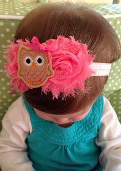 Baby headband - pink owl headband - toddler headband - owl toddler headband pink bow