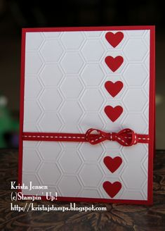 handmade card from Krista's Stamper Room: Red and White Valentine . honeycomb embossing folder texture with a column of red hearts . clean and slimply delightful! Stampin Up Karten, Stampin Up Cards, Valentine Love Cards, Valentines, Valentine Nails, Valentine Ideas, Tarjetas Diy, Embossed Cards, Heart Cards