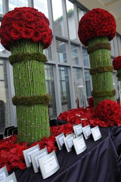 Escort Card Table With Red Roses