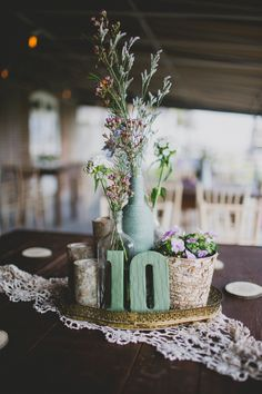 rustic chic centerpieces at NotWedding Charleston // photo by Lime Green Photography