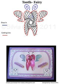 Great pattern to give to all your kids and grand children on the big occasion. Thank you for considering my creations. Iris Paper Folding, Iris Folding Pattern, Tooth Fairy, Teeth, Card Ideas, Irish, Baby Kids, Cartoons, Card Making