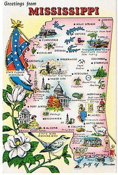 mississippi postcard | Vintage State Map Postcards - Mississippi Postcard