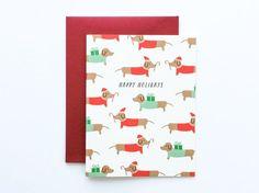 Dog Christmas Card, Dachshund Christmas Card, Dog Christmas Cards, Cute Christmas Card