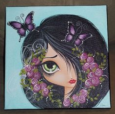 Hey, I found this really awesome Etsy listing at… Pebble Painting, Stone Painting, Art Sketches, Art Drawings, Whimsical Art, Big Eyes, Face Art, Art Girl, Painted Rocks