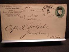 1880 CLINTON, ATKINSON, SUMMIT to JACKSON, MISS Postal History Cover PLANTATION