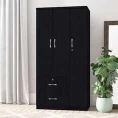 Beachcrest Home Pinellas Armoire | Wayfair Stylish Bedroom Decor, Furniture, Bedroom Cupboard Designs, Storage Spaces, Bedroom Closet Design, Tall Cabinet Storage, Door Glass Design, Cupboard Design, Armoire