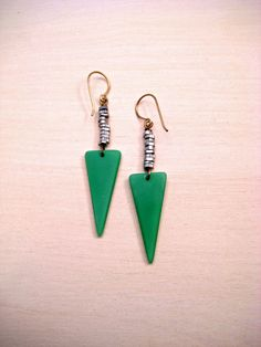 Dagger Statement Earrings // Brass & Green // Women's Jewelry // Seaglass // Bellwether // Claire Lueders