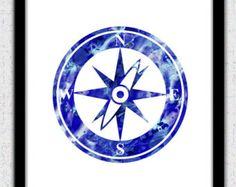 Aqua blue anchor print anchor waterclolor by FluidDiamondArt