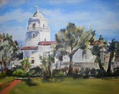 Junipera Serra Museum, Presideo Park, San Diego, Original Oil Painting signed by LydiaVelardeArt on Etsy