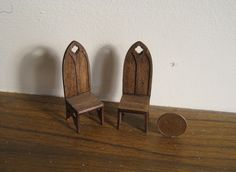 Dining or side chairs, a set,   Tudor, ,  Half Scale Dollshouse Miniature. $14.00, via Etsy.