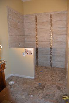 Actual shower in progress; marazzi travisano Bernini on the floors with marazzi silk elegant on the walls Master Shower, Master Bath, Home Depot Bricks, 48 Vanity, Bath Tub, Kitchenette, Floors, Walls, Silk