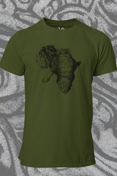 Elephant t shirt Mens Tlou African Elephant t shirt designed by me, printed on premium ethicaly manufactured cotton - soft as you like! Available in Ranger Khaki Green Organic Cotton T Shirts, African Elephant, Khaki Green, Custom Shoes, Ranger, Shirt Designs, Printed, Tees, Mens Tops