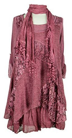Ladies Womens Italian Lagenlook Quirky Layering 3 Piece Sequin Lace Knit Mohair Long Sleeves Scarf Tunic Top Dress: