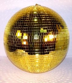 LARGE GOLD DISCO MIRROR BALL 16 IN