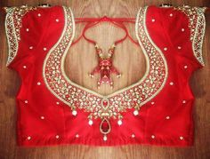 Top latest maggam work blouse designs for wedding saree. Latest heavy Maggam work bridal blouse designs for sarees. Pattu Saree Blouse Designs, Wedding Saree Blouse Designs, Blouse Designs Silk, Saree Blouse Patterns, Wedding Blouses, Wedding Dresses, Hand Work Blouse Design, Stone Work Blouse, Maggam Work Designs