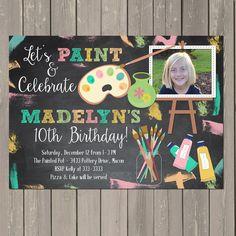 Art Party Invitation, Art Birthday Invite, Chalkboard Painting Birthday Invitation, Pottery Painting Party, Photo Invitation, DIY or Printed by PartyPopInvites on Etsy https://www.etsy.com/listing/151827446/art-party-invitation-art-birthday-invite