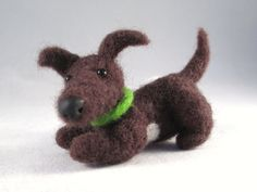 Meet Tootsie... A Needle Felted Wool Puppy Dog Collectible Fiber by FlomopStudio