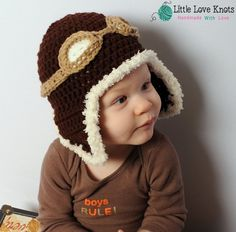 Aviator Pilot Hat with Goggles Crochet Photography Prop Baby Shower Gift. $18.00, via Etsy.