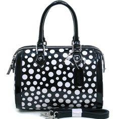 Women's Petite Glossy Polka Dot Fashion Satchel w/ Bonus Strap - Black/White, $45  http://jodezegifts153.shopinterest.co/