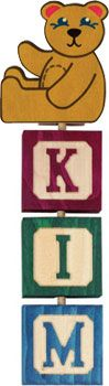 3-letter Hang-A-Name includes a starter shape and three letter blocks of your choice. Each Hang-A-Name letter block is crafted from locally sourced, sustainably harvested pine with a non-toxic colored stain and clear finish. Click to order http://www.americantoyboutique.com/item_903/Hang-A-Name-3-Letters-and-Starter.htm - Made in America $16.50