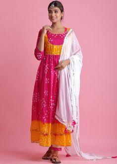 #pink #readymade #anarkali #suit #stylish #indian #salwar #kameez #eid #dresses #pakistani #suits #heavy #work #dupatta #ootd Silk Anarkali Suits, Silk Dupatta, Pakistani Suits, Yellow Ties, Yellow Art, Bandhani Dress, Readymade Salwar Kameez, White Kurta, Pink Suit