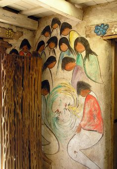 DeGrazia 033 - Prayer  		Just inside the chapel door is this colorful mural of Indian children praying. Title unknown ...The Mission in the Sun was built by Ted DeGrazia in honor of Padre Kino and dedicated to our Lady of Guadalupe, patron saint of Mexico.