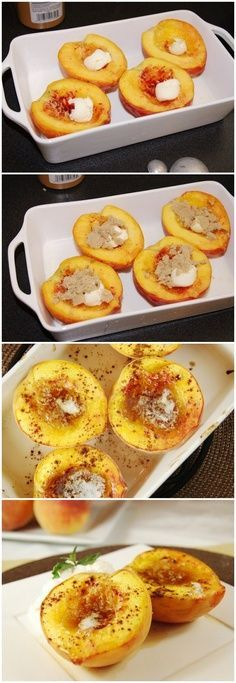Brown Sugar Baked Peaches Ingredients Per serving: 1 fresh peach 1 tsp. unsalted butter, divided 2 to 4 tsp. brown sugar, divided Sprinkling of ground cinnamon, to taste source => Brown Sugar Baked Peaches Think Food, I Love Food, Delicious Desserts, Dessert Recipes, Yummy Food, Tasty, Sweets Recipe, Breakfast Recipes, Low Calorie Breakfast