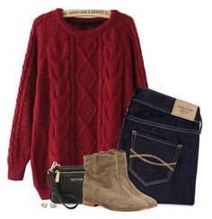 """""""Red cable knit sweater & suede boots"""" by steffiestaffie ❤ liked on Polyvore featuring Abercrombie & Fitch, MICHAEL Michael Kors and Isabel Marant"""