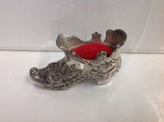 Vintage Silverplated Victorian Shoe Pin Cushion red velvet | eBay