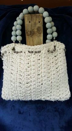 Crochet tote bag with large pale blue wood bead handles Crochet Tote, Blue Wood, Knitted Bags, Straw Bag, Upcycle, Shabby Chic, Hand Painted, Tote Bag, Beads