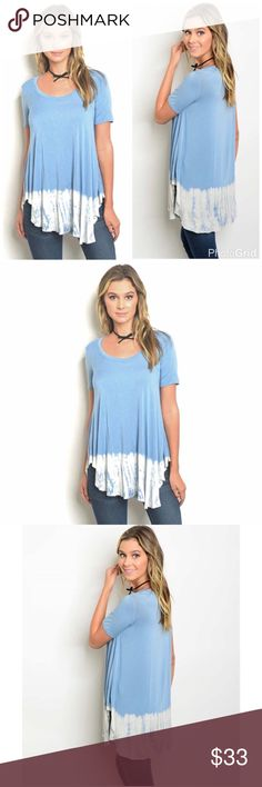 """Blue Dip Dye Tie Dye Tunic Top Blue Dip Dye Tie Dye Tunic Top Fabric Content: 95% Rayon 5% Spandex Size Measurements on Small L: 31"""" B: 36"""" W: 36"""" Made in the USA. No Trades. Price is Firm Unless Bundled. GlamVault Tops Tunics"""
