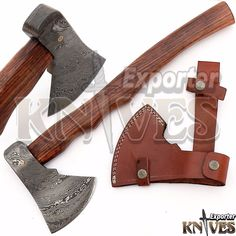 Andy Alm New Custom Hand Forged USA Damascus Bearded Axe Wooden Handle S216 #KnivesExporter