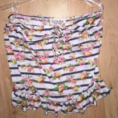 Striped & Floral Tube Top Adorable strapless striped and floral top from YaYa. Stretchy at too and hips area Free People Tops Tank Tops