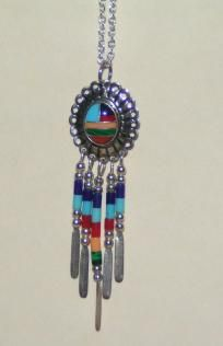 Native American Indian Necklace Turquoise Coral Shell Free Shipping