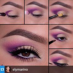 Take your makeup up a notch with step by step pictorials on gorgeous and colorful eye makeup for brown eyes and create fresh and new makeup looks. Purple Eyeshadow, Eyeshadow Makeup, Lip Makeup, Beauty Makeup, Eyebrow Beauty, Makeup Inspo, Makeup Inspiration, Makeup Tips, Makeup Tutorials