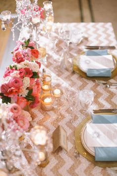 chevron sequins paired with pink and gold #tablescapes | Photography by brandonkidd.net, Planning by http://www.ladylibertyevents.com, Florals by http://www.thelittlebranch.com  Read more - http://www.stylemepretty.com/2013/08/28/rancho-palos-verdes-wedding-from-brandon-kidd/