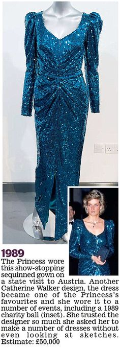 The Princess wore this show-stopping Catherine Walker design on a state visit to Austria in 1989. It was one of her favourites and she wore it to a number of events