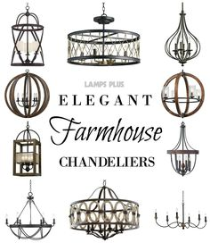 Rustic + Elegant - #FixerUpper #FarmhouseStyle #Chandeliers from @lampsplus - Perfect for the dining room ( Plus living room or master suite!)