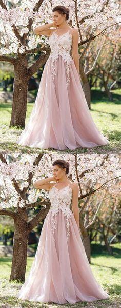 Light pink prom dress, long prom dress, A-line prom dress, lace appliques prom dress #lightpinkpromdresses #prom #dresses #longpromdress #promdress #eveningdress #promdresses #partydresses #2018promdresses