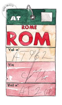 Good objects - Rome vintage flight tag watercolor illustration for your traveller gallery wall